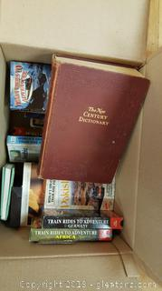 "Box Lot Of Vintage VCR Tapes/Large Vintage Hardback The""New Century Dictionary"""