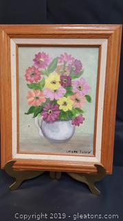 Vintage Floral Canvas Signed And Framed