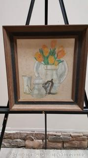 Nice Vintage Farmhouse Floral Sketch Signed Wood Frame