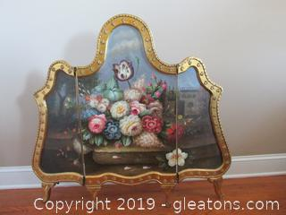 Tri-Fold Screen Gilt Gold With Flowers