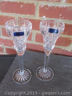 Pair of Marquis Waterford Crystal Candle Holders (A)