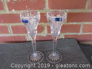 Pair of Marquis Waterford Crystal Candle Holders (B)