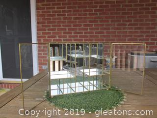 Vintage Brass, Glass, Mirror Display Case For Miniatures