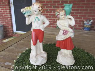 New Art Chalk Ware Figurines Boy & Girl