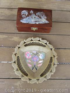 Carved Plate and Trinket Box