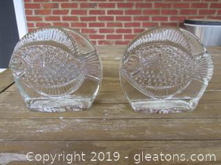 Heavy Pressed Glass Fish Book Ends