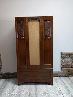 Vintage Hand Carved Armoire