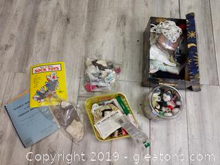 Box Lot Of Sewing Notions, Sewing Machine Attachments, Etc.