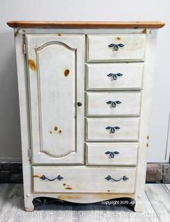 Farmhouse Armoire Chest White Washed Color