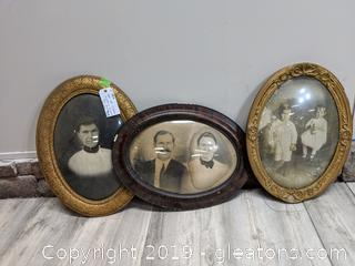 Lot Of CLassic Historic Framed Oval Shapes Prints