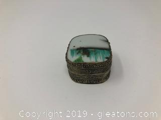 Metal Trinket Box W/Tile In Lay Lid