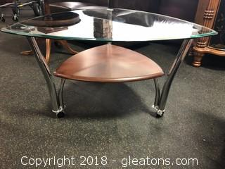 Modern Glass Top And Wood Rolling Table, Triangle Bevelled Glass Chrome Detail