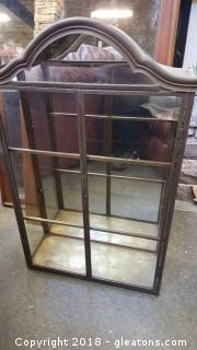 Vintage Brass Glass Curio Wall Cabinet