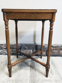 Small Square Vintage Side Table With Hand Carving