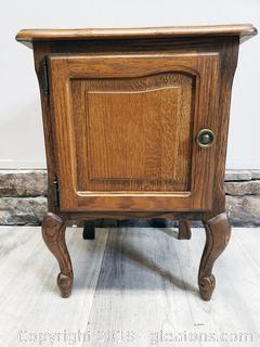 Vintage Small Side Table With Cabinet Storage French Style