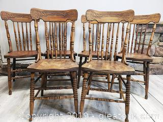 Hand Carved Tiger Oak Spindle Back Kitchen Chairs