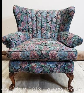 Modern Mahogany Chippendale Style Wing Back Chair Ball + Claw Feet, Floral Damask Upholstery