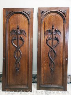 Pair Of Hand Carved Antique French Door Caduceus Symbol