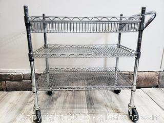 Liquor Cart 3 Tier Rolling Commercial Bar On Wheels/Heavy Duty All Purpose Utility Cart