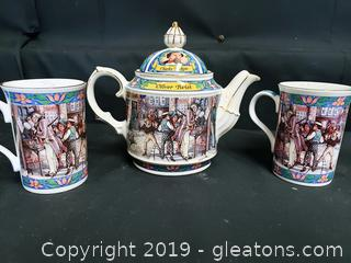 James Sadler TeaPot With (2) Cups Charles Dicken's