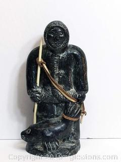 Wolf Original Signed Eskimo W/Seal Statue