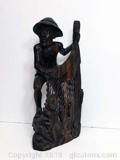 Hand Carved Wooden Fisherman