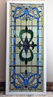 (A) Original Stained Glass On Wooden Frame
