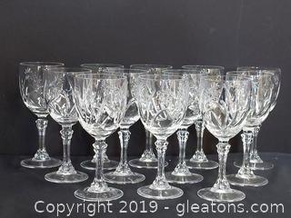 Gorgeous Set Of Crystal Wine Glasses New Condition