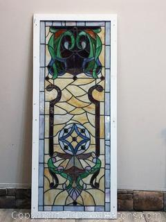 (B) Original Stained Glass In Wood Frame Solid Lean Or Mount