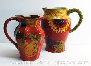Set Of 2 Brightly Colored Pitchers Ceramic