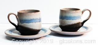 Delicate Pottery Set Of Demitasse Cups & Saucers
