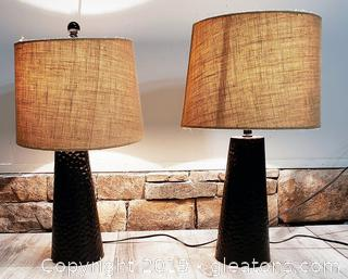 Pair Of Modern Desktop Lamps With Shades