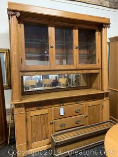 Stunning Antique Oak Hutch Parlor Style 2 Pieces - Beveled Mirror With Trim