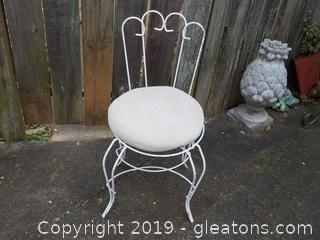 Vanity or Dresser Chair Metal with Crocheted Seat