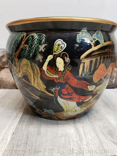 Large Oriental Flower Pot/Decorative/Hand Painted/Fish Bowl