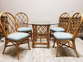 Rattan Dining Set (4) Chairs Glass Top Table