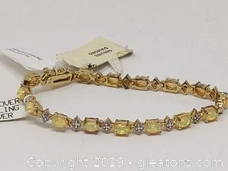 Women's NEW Opal and Diamond Tennis Bracelet