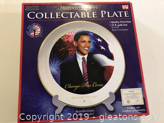 Collectble Obama Plate with 22K Gold Trim