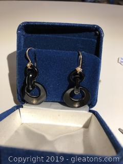 14kt Gold and Bakelite Dangle Earrings w/ Sea Pearls