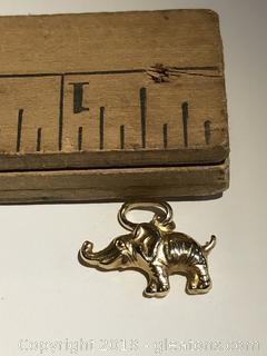 14kt Gold Elephant Charm Bracelet Charms 3.1 grams