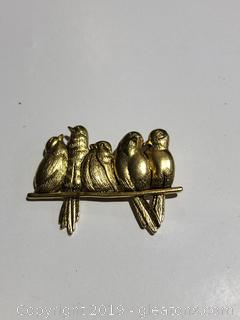Signed Birds on Perch Pin