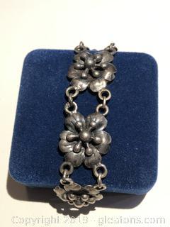 Antique Sterling Floral Bracelet