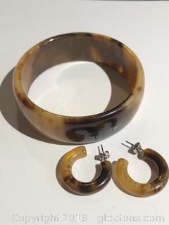 Vintage Tortise Shell Bracelet and earrings Bakelite