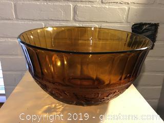 "Vintage Large 13"" Amberglass punch bowl"