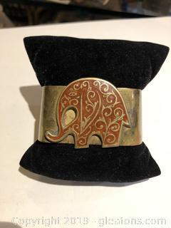 Brass and Enamel Elephant Cuff Bracelet