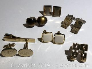 Lot of Mens Cuff Links including Ivory and gold filled