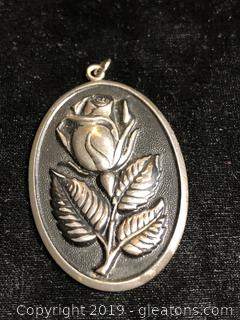 Large Vintage High Relief Sterling Pendant