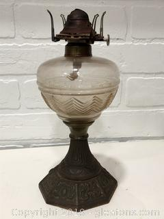 Antique Scovill Oil Lamp with missing glass shade