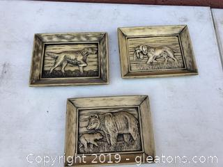 Vintage Set of 3 Plaster Plaques