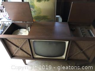 Mid Century Television and Stereo Floor Model